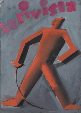 """Mario Sironi, Studio per una copertina per """"La Rivista Illustrata del Popolo d'Italia"""", 1925 ca., Tempera e matita su carta [riportata su tela], mm 412 × 296"""